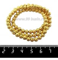 Натуральный камень ЛАВА вулканическая Гальванизированная, бусина круглая 5 мм, цвет желтое золото, около 90 бусин/нить 062216 - 99 бусин