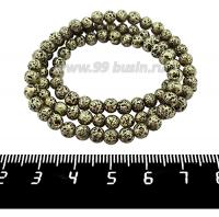 Натуральный камень ЛАВА вулканическая Гальванизированная, бусина круглая 5 мм, цвет бронза, около 90 бусин/нить 062217 - 99 бусин
