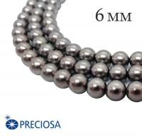 Жемчуг хрустальный Preciosa Maxima 6 мм Dark Grey 10 штук/упаковка Чехия 062287 - 99 бусин
