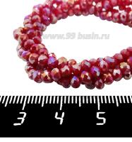 Бусины хрустальные на нити форма Рондель 3,5*2,5 мм непрозрачный темно-красный/радужный, около 39 см нить/145 бусин 062320 - 99 бусин