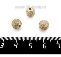 Бусина Премиум Шарик 8 мм с бесцветными микроцирконами, золотистый 1 штука 062331 - 99 бусин