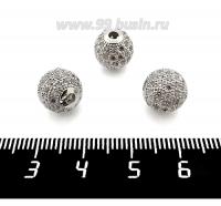Бусина Премиум Шарик 10 мм с бесцветными микроцирконами, родированный 1 штука 062332 - 99 бусин