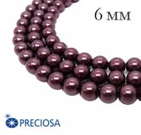 Жемчуг хрустальный Preciosa Maxima 6 мм Light Burgundy 10 штук/упаковка Чехия 062353 - 99 бусин
