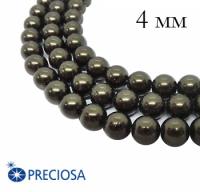 Жемчуг хрустальный Preciosa Maxima 4 мм Dark Green 10 штук/упаковка Чехия 062357 - 99 бусин