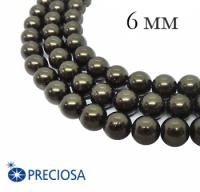 Жемчуг хрустальный Preciosa Maxima 6 мм Dark Green 10 штук/упаковка Чехия 062359 - 99 бусин