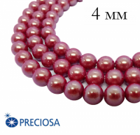 Жемчуг хрустальный Preciosa Maxima 4 мм Pearlescent Red 10 штук/упаковка Чехия 062381 - 99 бусин
