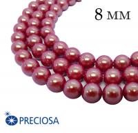 Жемчуг хрустальный Preciosa Maxima 8 мм Pearlescent Red 5 штук/упаковка Чехия 062384 - 99 бусин