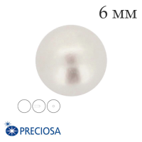 Жемчуг хрустальный Preciosa с несквозным полуотверстием 6 мм White (белый) 1 штука Чехия 062398 - 99 бусин