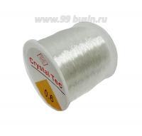 Шнур латексный эластичный 0,6 бесцветный, катушка около 80 метров 062403 - 99 бусин