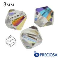 Биконусы хрустальные Preciosa 3 мм Crystall AB (бесцветный с эффектом AB) 20 штук/упаковка 062414 - 99 бусин