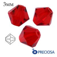 Биконусы хрустальные Preciosa 3 мм Light Siam (алый) 20 штук/упаковка 062416 - 99 бусин
