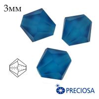 Биконусы хрустальные Preciosa 3 мм Capri Blue Matt (синий, матовый эффект) 20 штук/упаковка 062417 - 99 бусин