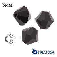 Биконусы хрустальные Preciosa 3 мм Jet (чёрный) 20 штук/упаковка 062418 - 99 бусин