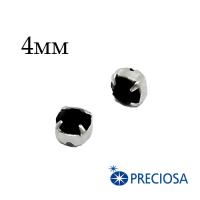 Шатоны (стразы) PRECIOSA пришивные хрустальные, размер ss-16 (4 мм), цвет Jet/silver, 10 штук/упаковка, Чехия 062437 - 99 бусин