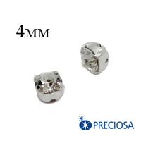 Шатоны (стразы) PRECIOSA пришивные хрустальные, размер ss-16 (4 мм), цвет Crystal Argent flare/silver , 10 штук/упаковка, Чехия 062438 - 99 бусин