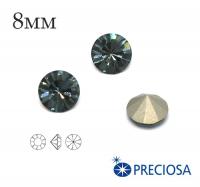 Шатоны PRECIOSA MAXIMA ss39 (8мм) Smoked Sapphire без оправы 1 штука, Чехия 062466 - 99 бусин