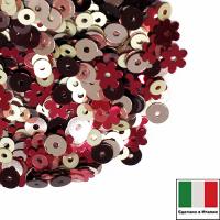Микс пайеток ФИОРИНО плоские 3мм L7A, 806W, 4 мм 3071, 4071, цветочки 5 мм 5511 Италия 062531 - 99 бусин