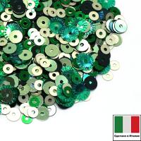 Микс пайеток ПРАТО Италия плоские 3 мм 226W, 7041 4 мм M32, 7021, рифлёные 5 мм 7400 Италия 062534 - 99 бусин
