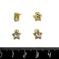 Подвеска премиум Циркон в форме звёздочки  7*7 мм позолоченная с колечком 1 штука 062541 - 99 бусин