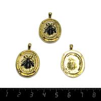Подвеска премиум Медальон с пчелой, позолоченная, 30*20мм, 1 штука 062545 - 99 бусин