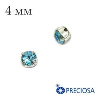 Шатоны (стразы) PRECIOSA пришивные хрустальные, размер ss-16 (4 мм), цвет Aqua Bohemica/silver, 10 штук/упаковка, Чехия 062547 - 99 бусин
