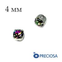 Шатоны (стразы) PRECIOSA пришивные хрустальные, размер ss-16 (4 мм), цвет Crystal Vitrail Medium/silver, 10 штук/упаковка, Чехия 062549 - 99 бусин