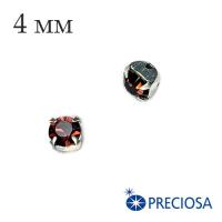 Шатоны (стразы) PRECIOSA пришивные хрустальные, размер ss-16 (4 мм), цвет Burgundy/silver, 10 штук/упаковка, Чехия 062552 - 99 бусин