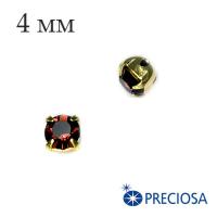 Шатоны (стразы) PRECIOSA пришивные хрустальные, размер ss-16 (4 мм), цвет Burgundy/gold, 10 штук/упаковка, Чехия 062556 - 99 бусин