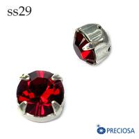 Шатоны в оправе PRECIOSA MAXIMA пришивные размер ss29 (6.1-6.3 мм), цвет Siam/оправа silver, 1 штука, Чехия 062561 - 99 бусин