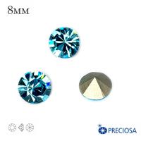 Шатоны PRECIOSA MAXIMA ss39 (8мм) цвет Aqua Bohemica, без оправы 1 штука, Чехия 062565 - 99 бусин