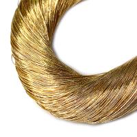 Нить металлизированная для золотного шитья, тонкая, цвет светлое золото, пасмочка около 15-18 граммов/100 метров Индия 062576 - 99 бусин