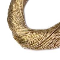 Нить металлизированная для золотного шитья, тонкая, цвет холодное золото, пасмочка около 15-18 граммов/100 метров Индия 062577 - 99 бусин