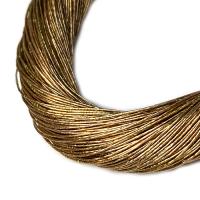 Нить металлизированная для золотного шитья, тонкая, цвет золотой орех, пасмочка около 15-18 граммов/100 метров Индия 062579 - 99 бусин