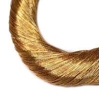 Нить металлизированная для золотного шитья, тонкая, цвет янтарное золото, пасмочка около 15-18 граммов/100 метров Индия 062582 - 99 бусин
