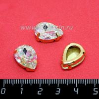 Стразы стеклянные пришивные в латунных цапах капли 14*10 мм лазерный прозрачный 1 штука 062585 - 99 бусин