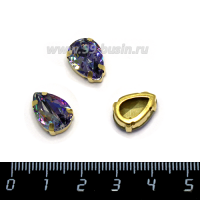 Стразы стеклянные пришивные в латунных цапах капли 14*10 мм лазерный фиолетовый 1 штука 062590 - 99 бусин