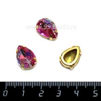 Стразы стеклянные пришивные в латунных цапах капли 14*10 мм лазерный малиновый 1 штука 062591 - 99 бусин