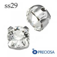 Шатоны в оправе PRECIOSA MAXIMA пришивные размер ss29 (6.1-6.3 мм), цвет Crystal/оправа silver, 1 штука, Чехия 062592 - 99 бусин