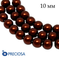 Жемчуг хрустальный Preciosa Maxima 10 мм Dark Copper 1 штука Чехия 062596 - 99 бусин
