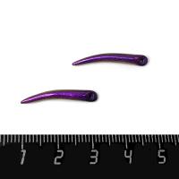 Декоративный элемент Клюв Колибри (левый), пришивной, из полимерной глины, перламутровый фиолетовый, размер около 22-26*3-4 мм, ручная работа, 1 штука 062600 - 99 бусин