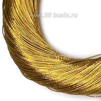 Нить металлизированная для золотного шитья, тонкая, цвет латунь, пасмочка около 15-18 граммов/100 метров Индия 062608 - 99 бусин