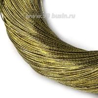 Нить металлизированная для золотного шитья, тонкая, цвет оливковое золото, пасмочка около 15-18 граммов/100 метров Индия 062610 - 99 бусин