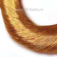 Нить металлизированная для золотного шитья, тонкая, цвет рыжее золото, пасмочка около 15-18 граммов/100 метров Индия 062612 - 99 бусин