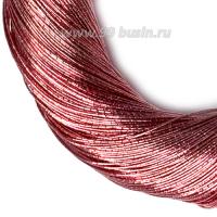 Нить металлизированная для золотного шитья, тонкая, цвет тёмно-розовый, пасмочка около 15-18 граммов/100 метров Индия 062614 - 99 бусин