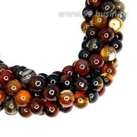 Натуральный камень САРДОНИКС полосатый, бусина круглая 4 мм, терракотово-черные тона, около 37.5 см/нить 062643 - 99 бусин