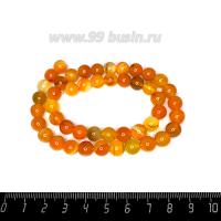 Натуральный камень  АГАТ колорированный, бусина круглая 8 мм, Оранжевая, около 37 см/нить 062653 - 99 бусин