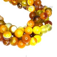 Натуральный камень АГАТ колорированный, бусина круглая 8 мм, теплые жёлто-коричневые тона, около 38 см/нить 062656 - 99 бусин