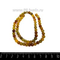Натуральный камень АГАТ колорированный, бусина круглая 6 мм, теплые жёлто-коричневые тона, около 38 см/нить 062657 - 99 бусин