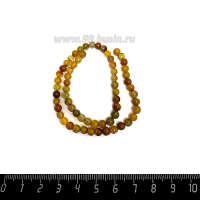 Натуральный камень АГАТ колорированный, бусина круглая 4 мм, теплые жёлто-коричневые тона, около 38 см/нить 062658 - 99 бусин