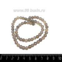 Натуральный камень АГАТ колорированный, бусина круглая 6 мм, молочно-серые тона, около 37 см/нить 062661 - 99 бусин